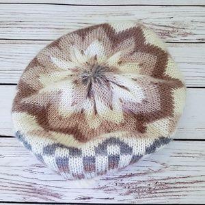Vintage 70s Earth Tones Beret Winter Hat